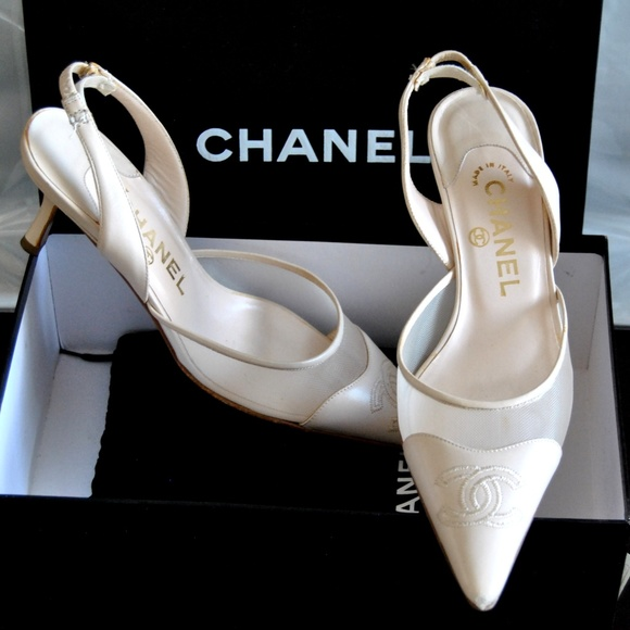 83027966398 CHANEL CC Embroidery Sling-back Shoes Box Dust Bag